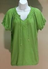 NWT Charter Club Women's Green Solid 100% Cotton Top Blouse Size: PXL