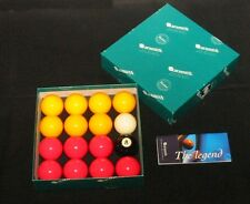 "ARAMITH PREMIER TOURNAMENT 2"" RED&YELLOW POOL BALLS 1 7/8"" match white cue ball"