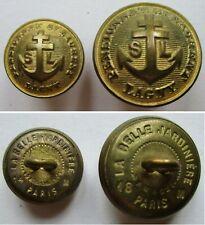 2 Boutons bombés en métal doré : Pensionnat St Laurent/Lagny à l'ancre/croix