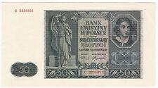 Generalgouvernement 50 złotych 1941 seria C ...851; Fi 184, Mi 102 UNC