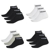 Adidas Mens Womens Ankle Quarter 3 pack Socks Low Cut Gym Training Black White