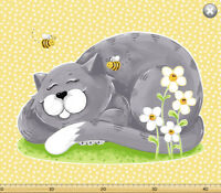Purrl the Gray Cat Play Mat Panel by SusyBee Cotton Quilt fabric 36x44""