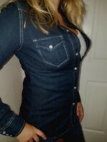 Boutique Dark Blue Long Sleeve Denim Jean Shirt Top Women's Country western Slim