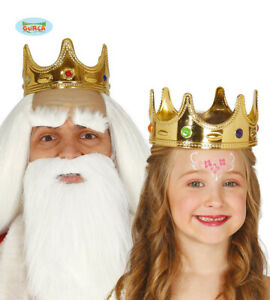 Childs Unisex Fancy Dress Crown Gold Kids Queen or King Crown New fg