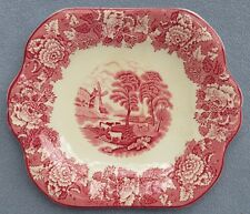 Wood & Sons Pink Transferware English Scenery Square Handled Cake Plate