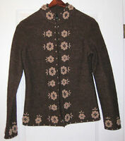 CYNTHIA ROWLEY BROWN BOILED WOOL JACKET  WITH EMBROIDERED FLOWERS SIZE S/M