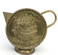 Viking Ship Brass and Copper Fireplace Jug Hammered Watering Can 7in Moon Flask