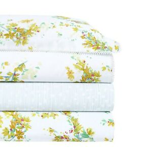 Yves Delorme Lucine Queen Duvet Floral Graphics White Blue Egyptian Cotton NEW
