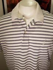 EUC Nautica Men's Large Navy Blue White Stripe Polo Shirt