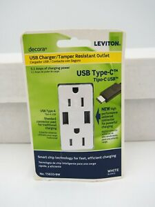 Leviton Decora  USB Type C T5633-BW USB Charger/Tamper Resistant Outlet