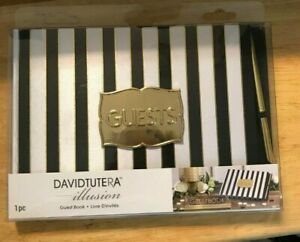 David Tutera Guest Book with Black, White & Gold design and Gold Pen-  Pages NIB