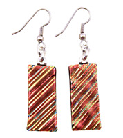 """Dichroic Glass Earrings  Copper Red Gold Orange Ripple 1"""" Dangle Surgical Wire"""