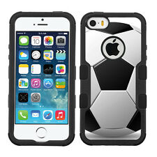 3-Layer Hybrid Case (Blk/Blk/Grip) for Apple iPhone 5 5s - Soccer