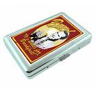 Vintage Poster D256 Silver Metal Cigarette Case Wallet Beer It's For Breakfast