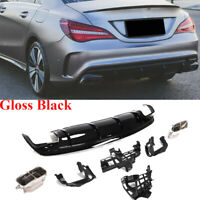 Rear Bumper Diffuser W/Tailpipe Muffller Fit For Benz C117 CLA250 CLA45AMG 13-19