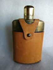 Santos Steer Tan Buffalo Leather Glass Bottle Flask 12 oz