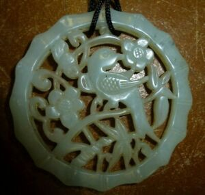 Old Lucky Carved genuine Chinese light Celadon Jade bird pendant necklace charm