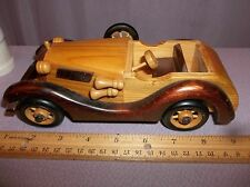 Handcrafted Wooden Convertible Roadster Style Car Wood and Plastic for Table Top