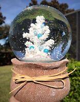 Christmas Tree Musical Snow Water Globe Nautical Coastal Pearl Home Decor Coral