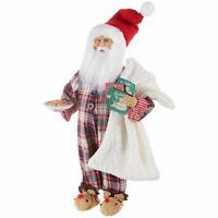 "17.5"" SANTA WITH COOKIES PLAID PAJAMAS FUZZY SLIPPERS RAZ Christmas 3915501 NEW"