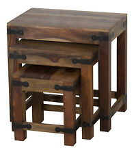 Jali Solid Rosewood Sheesham Nest of Tables RRP £99!!