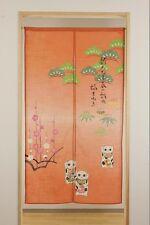Noren Japanese cloth goodwill curtain Maneki neko lucky cat 85*150cm from japan