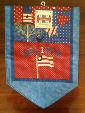 Patriotic Americana Table Runner Fabric Applique Stars Heart Believe Flag N