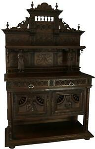 ANTIQUE SERVER SIDEBOARD BRITTANY CHESTNUT FRENCH HEAVILY CARVED FIGURES 18