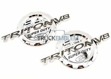 2 NEW CHROME FORD 5.4L TRITON V8 SUPERDUTY BADGES EMBLEMS SET PAIR F250 F350