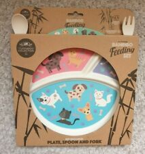 Bamboo Eco Dinner Feeding Set Cats and dogs 3pc The leonardo collection