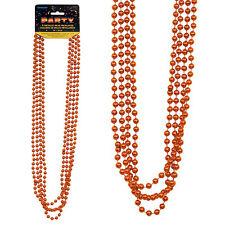 4 Metallic Orange Mardi Gras 32in Metallic Party Beads Beaded Garlands Necklaces