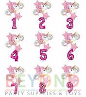 "Unicorn Bouquet Balloons + 34"" Number Magenta Balloon"