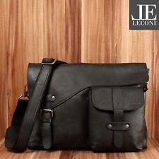 0cc40975269c6 LECONI Messenger Bag Leder Collegetasche Herren Damen schwarz LE3032-wax