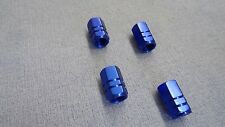 AUDI A3 BLUE METAL DUST VALVE CAPS TYRE WHEEL ALUMINIUM SOLID HEXAGON COVER 4PCS