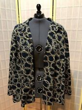 Women's size 5x Russell Kemp Navy, Yellow and White Circle Print Open Jacket