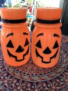 "2 Vintage Halloween 11"" Pumpkin Jackolantern with Top Hat  Blow Molds"
