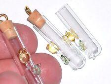 1 Small YELLOW Tulip Rose Flower Glass urn vial charm pendant fairy cork Bottle