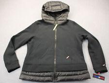 TOMMY HILFIGER SPORT Womens Black Duck Down Feathers Fleece Hoodie Jacket NWT L