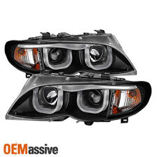 [Eye Lip] Fits 02-05 BMW E46 4Dr 3-Series 3D Halo LED Projector Black Headlights