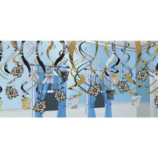 Negro, Plata y Oro Feliz Año Nuevo Colgante Decorativo de Remolino X 30