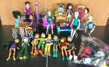Lot of 16 Monster High dolls with vanities,couch,chairs,coffin box,& accessories