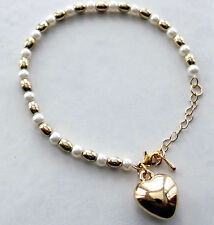 Ladies Heart Charm Bracelet With Large Gold Heart and Glass Pearl Beads