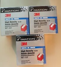 """Lot of 3 Imation 3M High Density Diskettes IBM Formatted 1.44MB 3.5"""" 10Di Per PK"""
