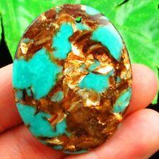 45x35x7mm Gold Copper Bornite Stone Oval Pendant Bead Sent Random