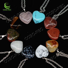 Wholesale lots 10pcs Heart Natural Gemstone Silver Tone Pendant Necklace Bead
