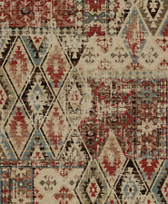 Tucson Area Rug Runner Lodge Cabin Rustic Distressed Red Blue Beige Matching Set