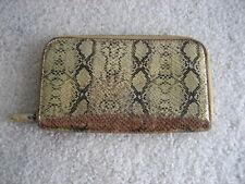 Marc Jacobs Gold Snake Skin Print Wallet Zip Around Continental Bag Metallic USA