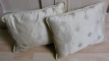 PAIR LAURA ASHLEY LIGHT GOLD / STRAW SILK DUCK-FEATHER FILLED CUSHIONS