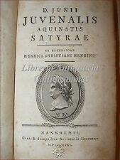 GIOVENALE, SATIRE 1781 Mannheim - Junii Juvenalis SATYRAE con ritratto NERONE