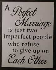"""A Perfect Marriage Love Each Other 8.5"""" x 11"""" Custom Stencil FAST FREE SHIPPING"""